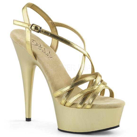 6 Inch High Heel Platform Gold Metallic Shoes